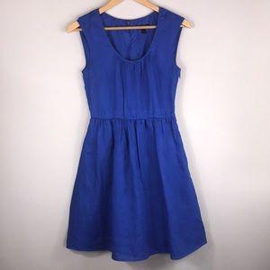 J.CREW BLUE linen cap sleeve dress